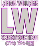 Landis Williams Construction Logo - Contact us at our construction company in Yorba Linda, California, for carpentry and remodeling needs such as house framing and dry wall.